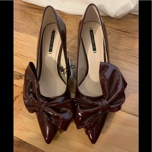 Zara faux patent pointed toe bow heels 6.5
